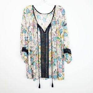 Daniel Rainn Plus Size Floral Tunic Tassel Blouse